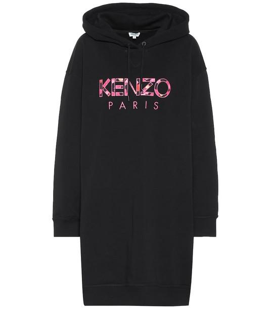 Kenzo Logo cotton hoodie dress in black