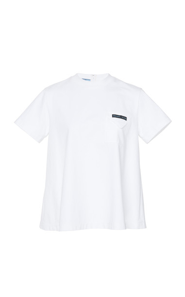 Prada Printed Cotton-Jersey T-Shirt Size: 44 in white