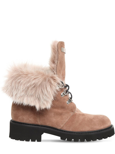 GIUSEPPE ZANOTTI 30mm Suede & Faux Fur Ankle Boots in taupe
