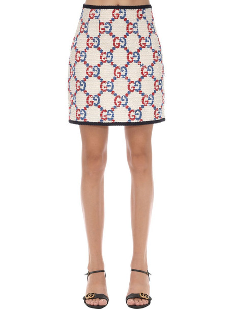 GUCCI Gg Cotton Blend Tweed Skirt in white / multi