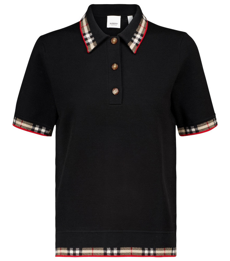 Burberry Merino wool-blend polo top in black