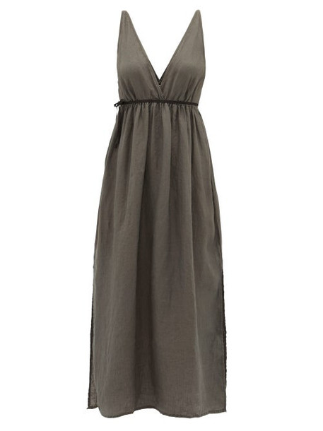 Once Milano - Waist-tie Linen Midi Dress - Womens - Black
