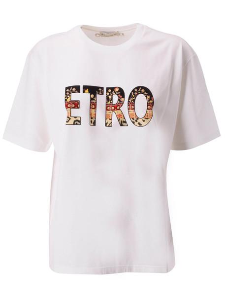 Etro Printed Logo T-shirt in white / multi
