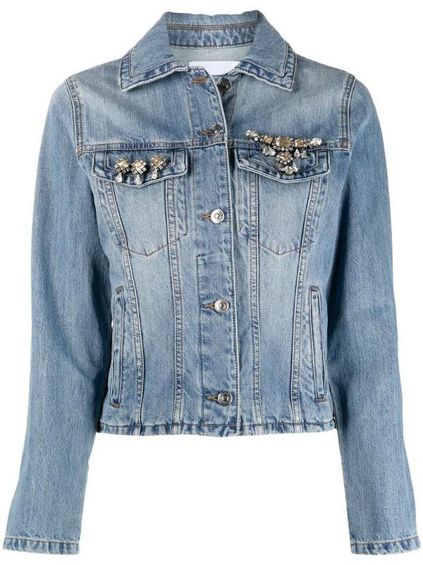 Ermanno Scervino crystal embellished denim jacket in blue