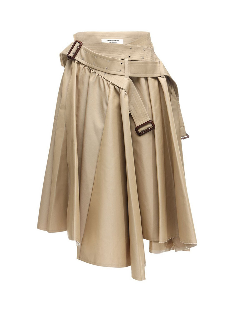 JUNYA WATANABE High Waist Belted Cotton Jersey Skirt in beige