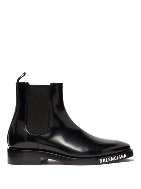 Balenciaga - Logo Debossed Patent Leather Chelsea Boots - Womens - Black