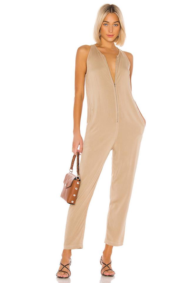 Enza Costa Sleeveless Front Zip Jumpsuit in tan