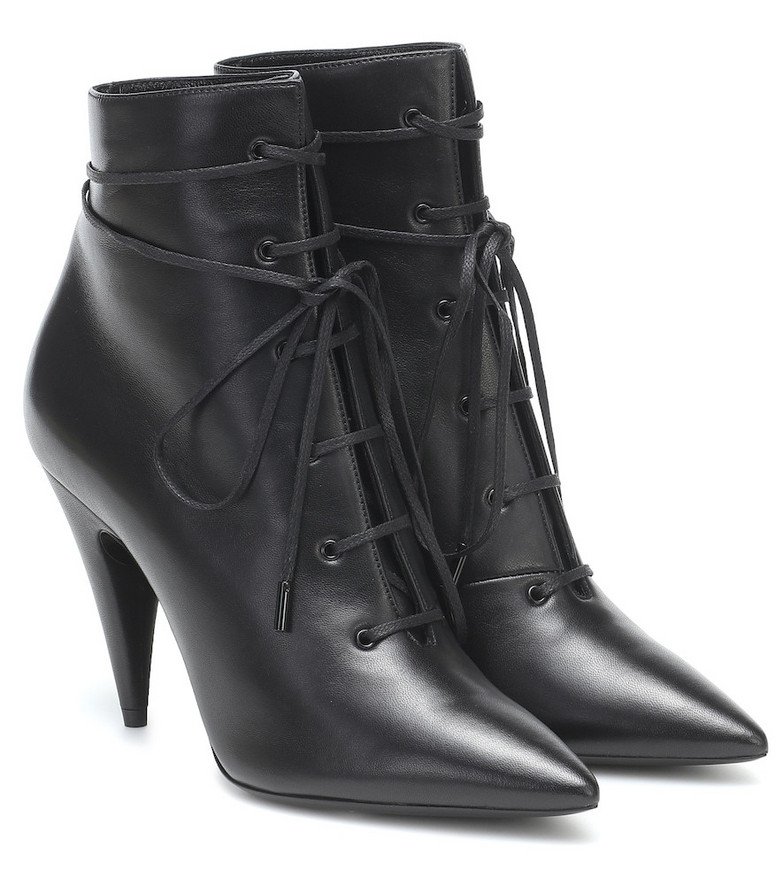 Saint Laurent Romy 95 leather ankle boots in black