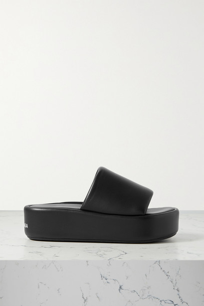 BALENCIAGA - Rise Leather Platform Sandals - Black