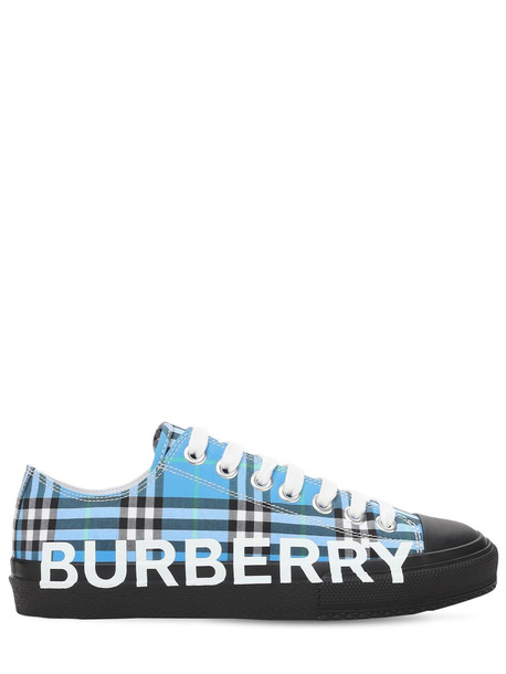 BURBERRY 20mm Larkhall Check Canvas Sneakers in blue / multi