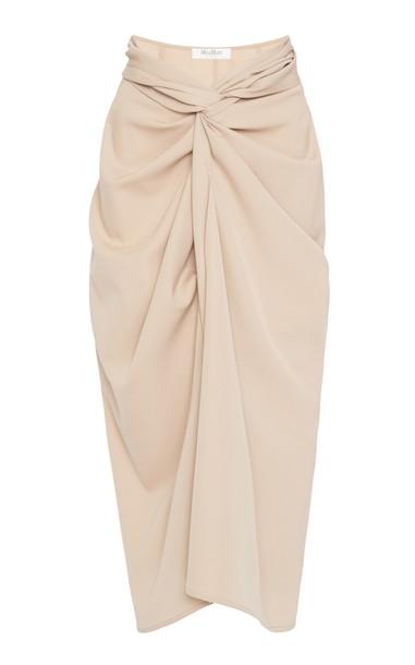 Max Mara Uva Knotted Wool-Crepe Midi Skirt in neutral