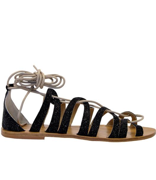 Anniel Greek Sandals in nero