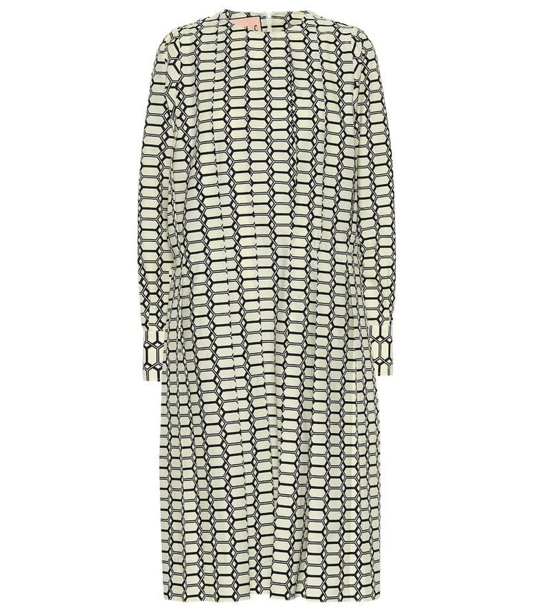 Plan C Printed cotton midi dress in beige