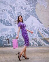 dress,midi dress,short sleeve dress,paco rabanne,pumps,handbag