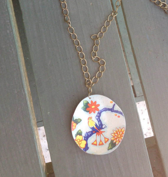 "Large Tin Pendant // ""The Classic"" 1970's Bird Pattern // Upcycled Vintage Jewelry"