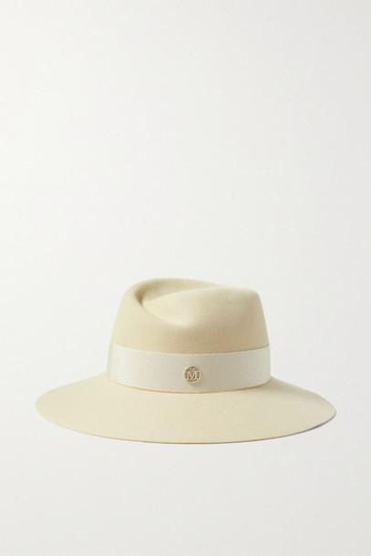 Maison Michel - Virginie Grosgrain-trimmed Wool-felt Fedora - Cream