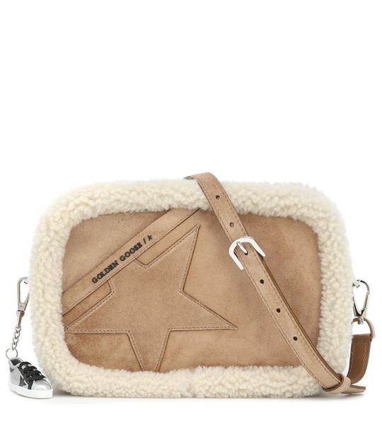Golden Goose Star shearling-trimmed suede shoulder bag in beige
