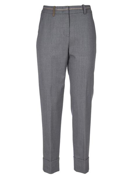 Peserico Woman Crop Trousers in grey