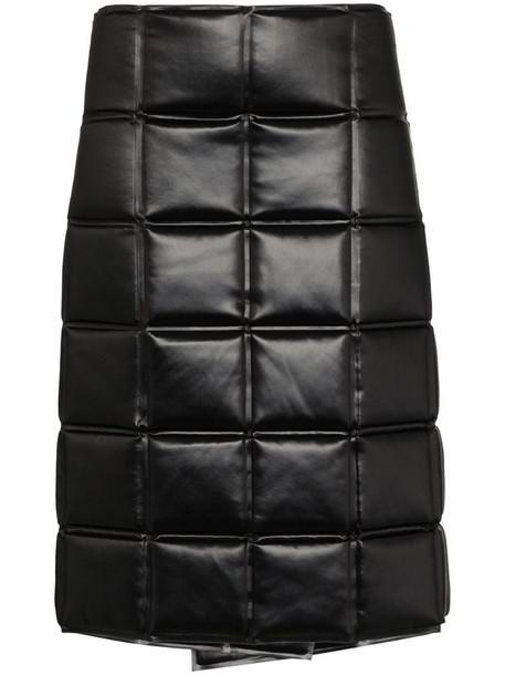 Bottega Veneta quilted wrap knee-length skirt in black