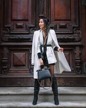 jacket,white blazer,stripes,knee high boots,black boots,black bag,white coat,tights,black shorts,black top,black belt