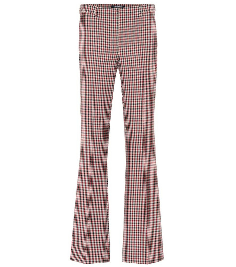 S Max Mara Soraia checked mid-rise flared pants in red