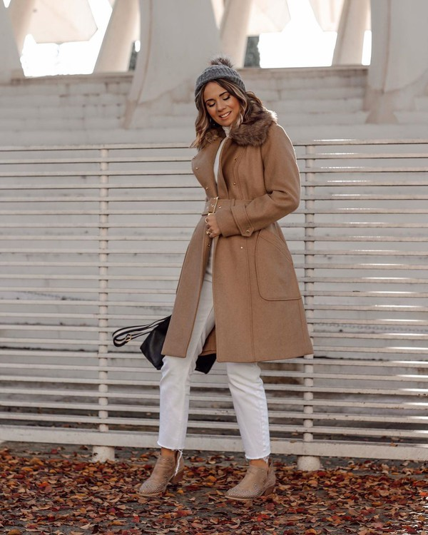 coat long coat ankle boots white jeans cropped jeans white turtleneck top beanie bag