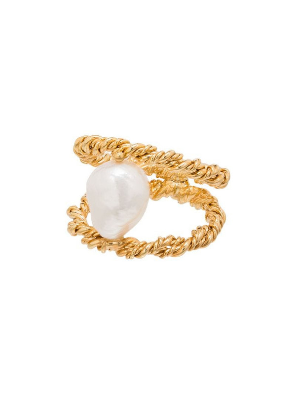 Joanna Laura Constantine Twist Wire gold-plated pearl ring