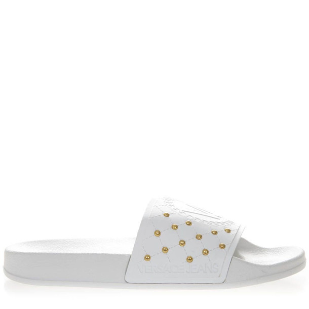 Versace White Rubber Mini Studs Slipper Sandal