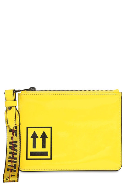 OFF-WHITE Patent Leather Pouch in yellow