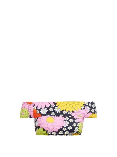 Dodo Bar Or - Ceccile Floral Print Off The Shoulder Bikini Top - Womens - Navy Multi