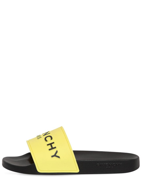 GIVENCHY 10mm Logo Embossed Rubber Slide Sandals in yellow