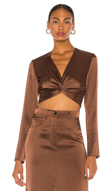 Nanushka Ula Blouse in Brown