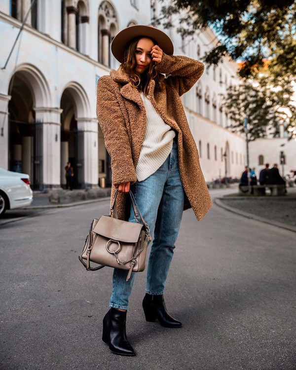 coat faux fur coat ankle boots back  boots high waisted jeans bag knitted sweater hat
