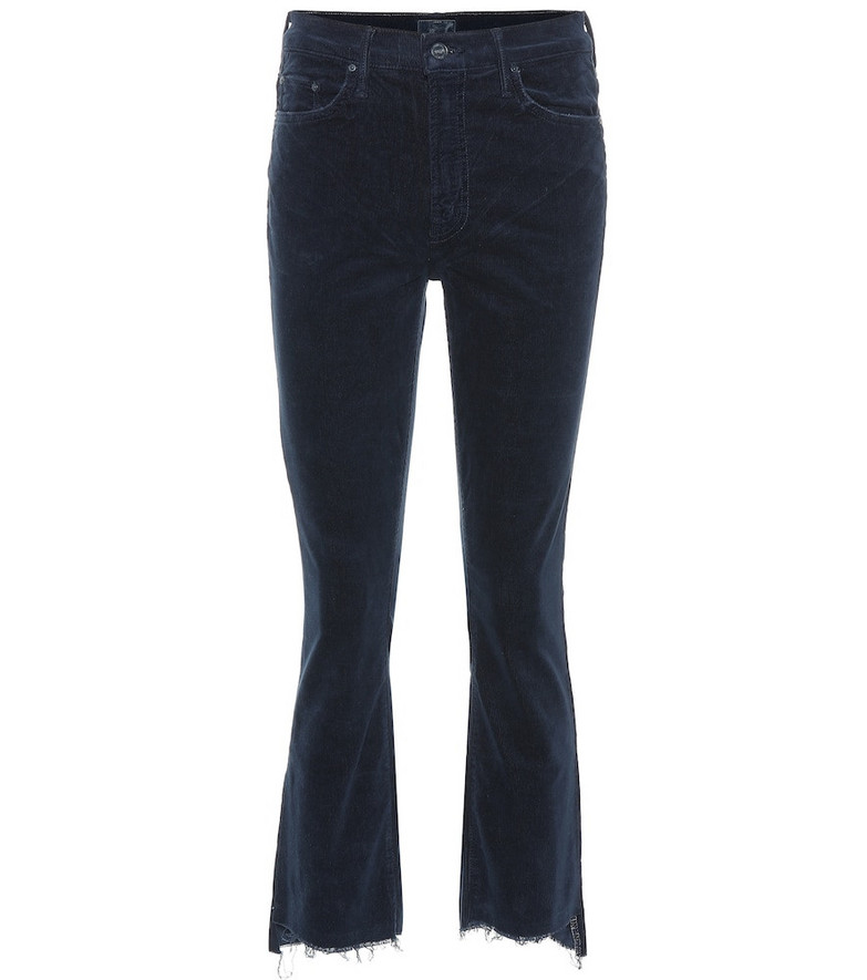Mother The Insider Crop Step Fray pants in blue