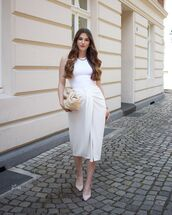 skirt,midi skirt,wrap skirt,slingbacks,white bodysuit,bag