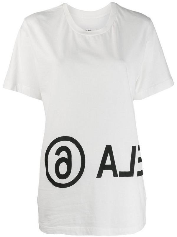 MM6 Maison Margiela logo print T-shirt in white