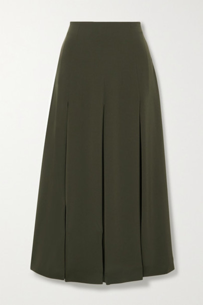 Co - Pleated Crepe Midi Skirt - Dark green