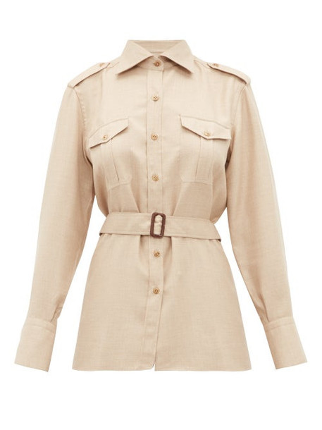 Giuliva Heritage Collection - The Aurora Belted Camel Hair Blend Shirt - Womens - Beige