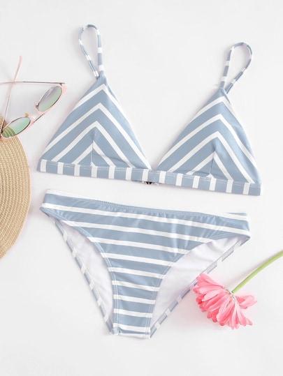 Striped Triangle Bikini Set