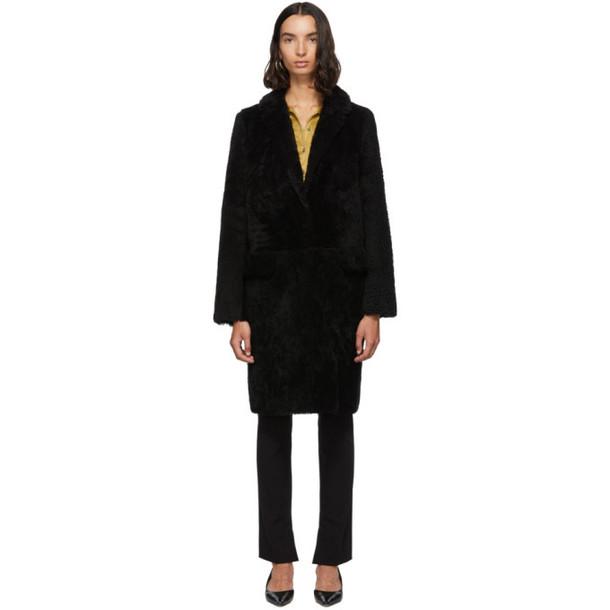 Yves Salomon - Meteo Black Curly Merino Shearling Coat