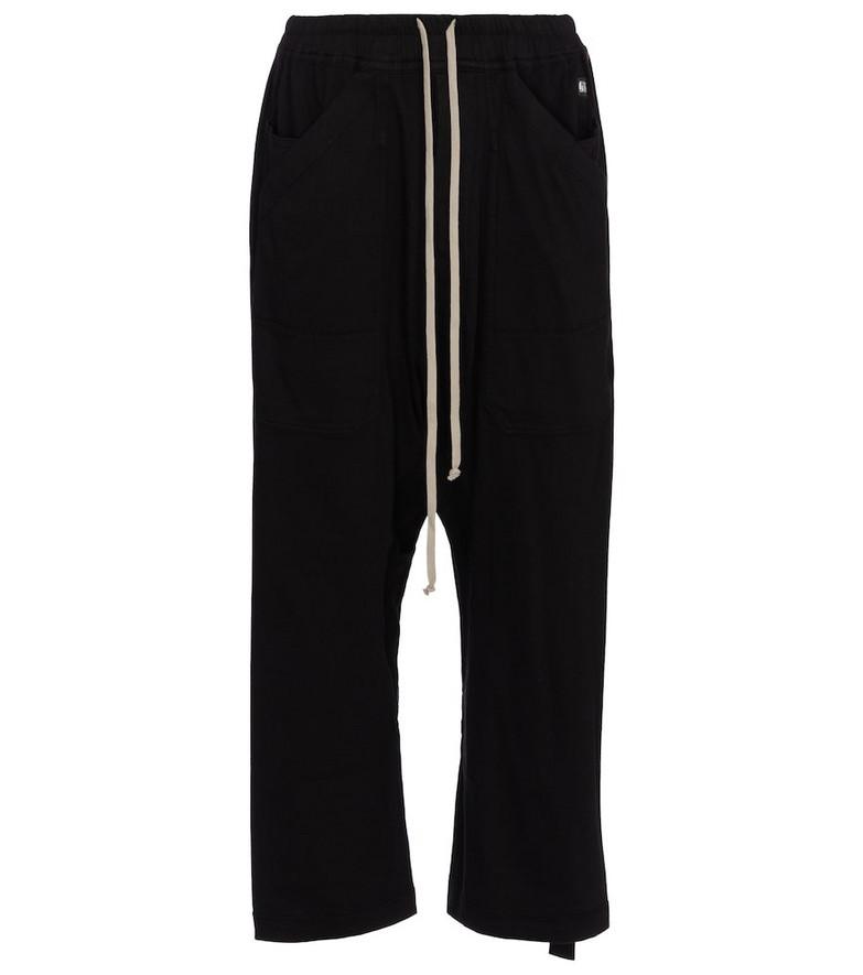Rick Owens DRKSHDW cropped cotton sweatpants in black