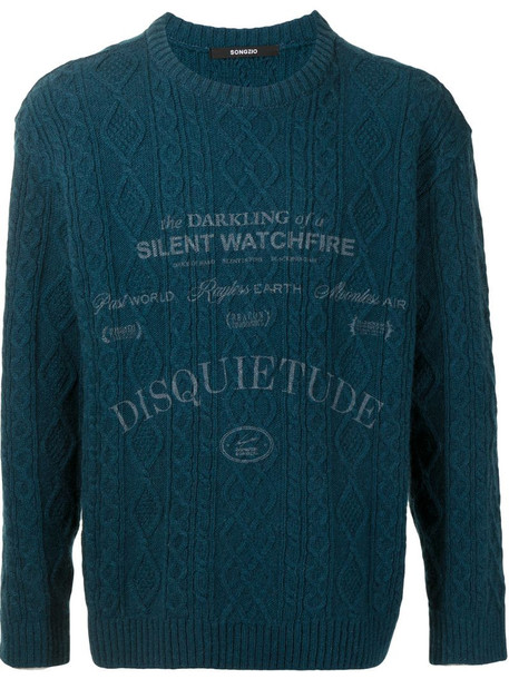 SONGZIO logo-print cable-knit jumper in blue