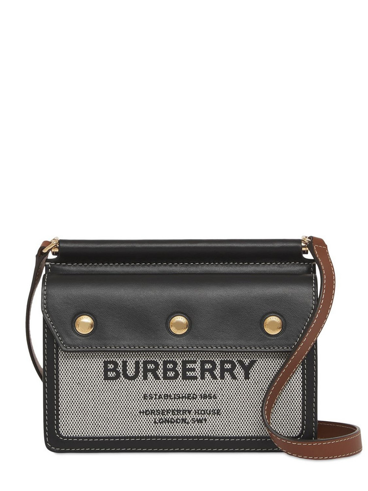 BURBERRY Baby Title Pocket Canvas & Leather Bag in black / tan