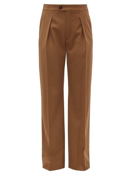 Chloé Chloé - High Rise Pleated Wool Blend Trousers - Womens - Brown