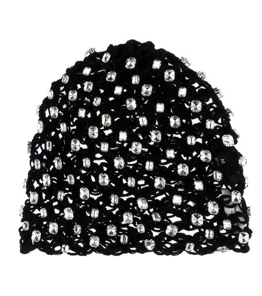 Saint Laurent Crystal-encrusted cotton beanie in black