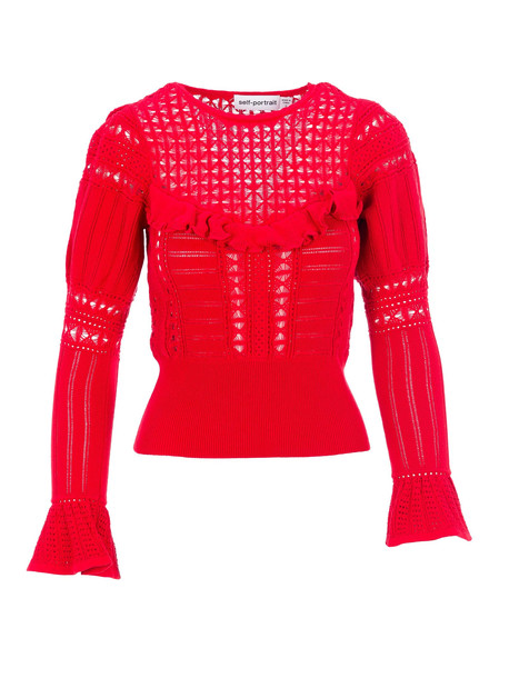 self-portrait Self Portrait Knitted Lace Top in red