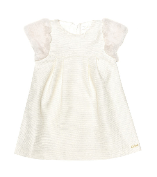 Chloé Kids Baby faux fur trimmed dress in white