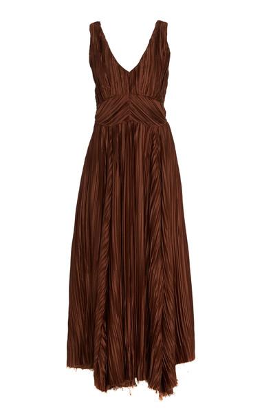 Cult Gaia Angela Silk-Effect Plissé Empire Dress in brown
