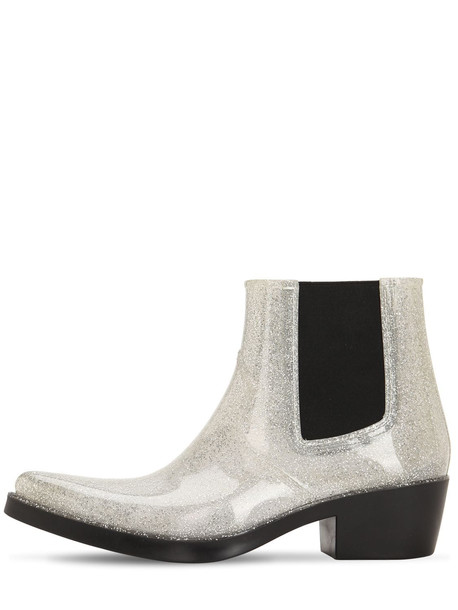 COLORS OF CALIFORNIA 40mm Glittered Rubber Cowboy Boots in silver