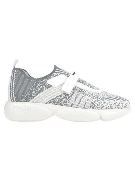 Prada Prada Cloudbust Knit Sneakers in silver / white